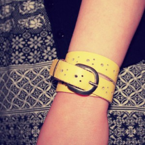 diy - leather belt bracelet