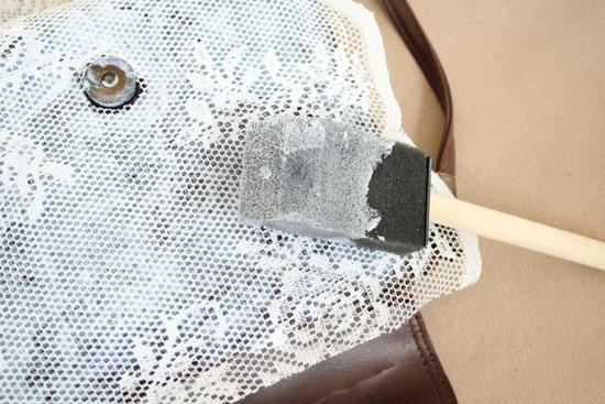 diy vintage lace bag mod podge