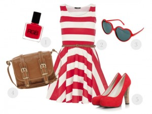 Fashion - cute red summer stripes outfit