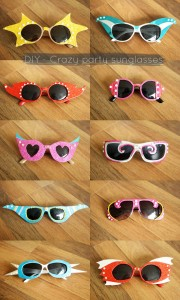 These crazy DIY sunglasses are really easy and fun to make from a cheap pair of sunglasses! @ By Wilma