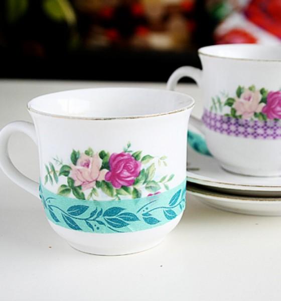 Washi tape marathon day 9: DIY tea cups