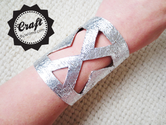 DIY- How to make a hammered metal look cuff bracelet with household materials