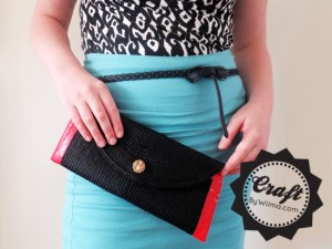 DIY project: duct tape and table-mat clutch.