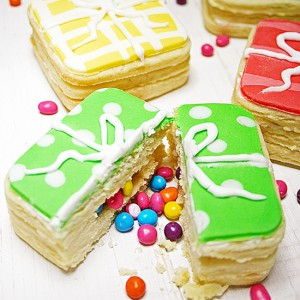 Recipe - gift box cookies filled with m&m