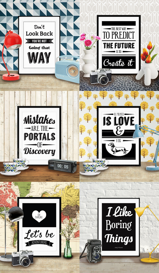 black and white printable art quote prints @ ByWilmaPrintables on Etsy