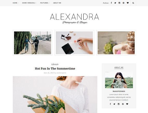 Alexandra wordpress theme Etsy
