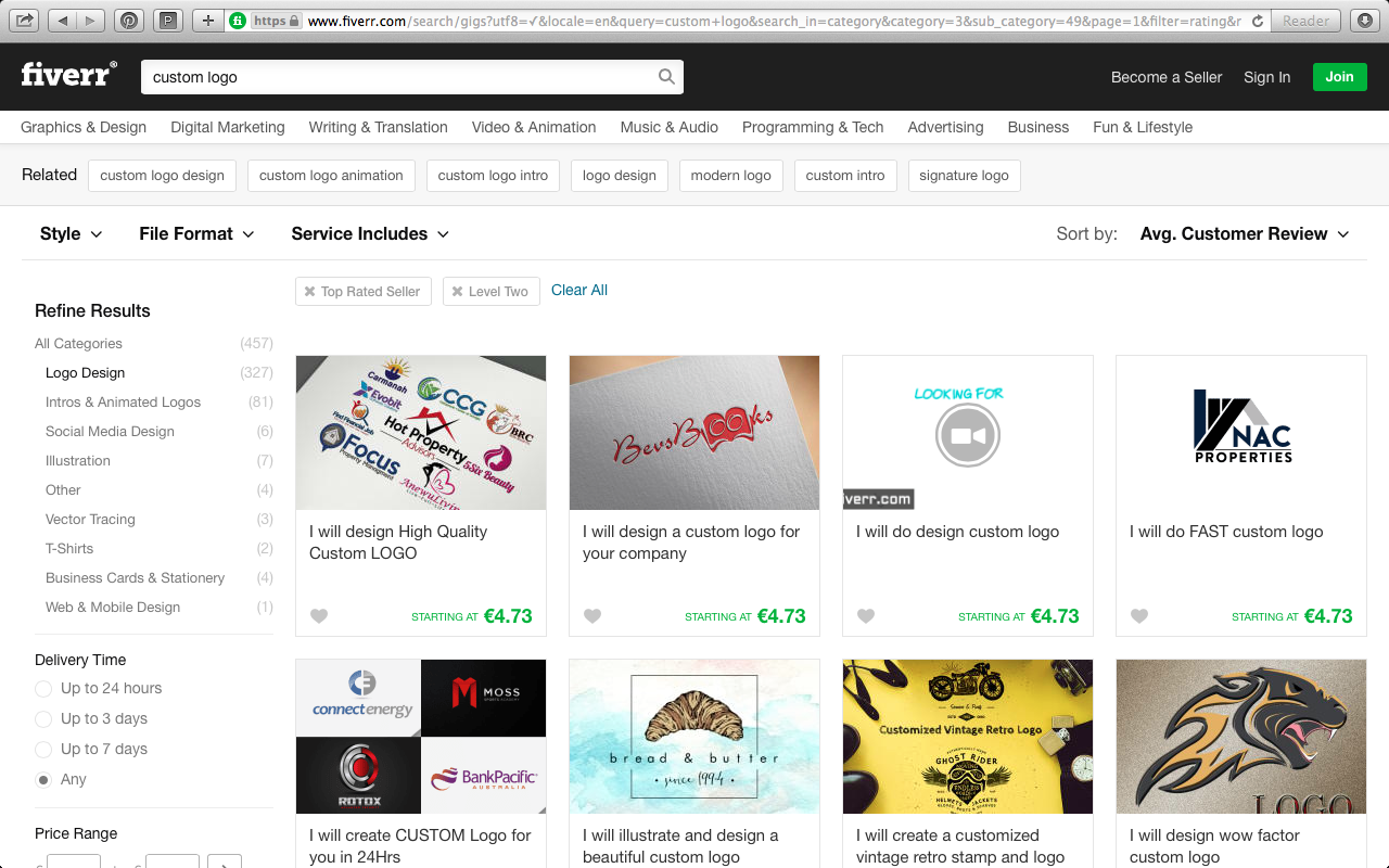 Buying a logo on Fiverr.com
