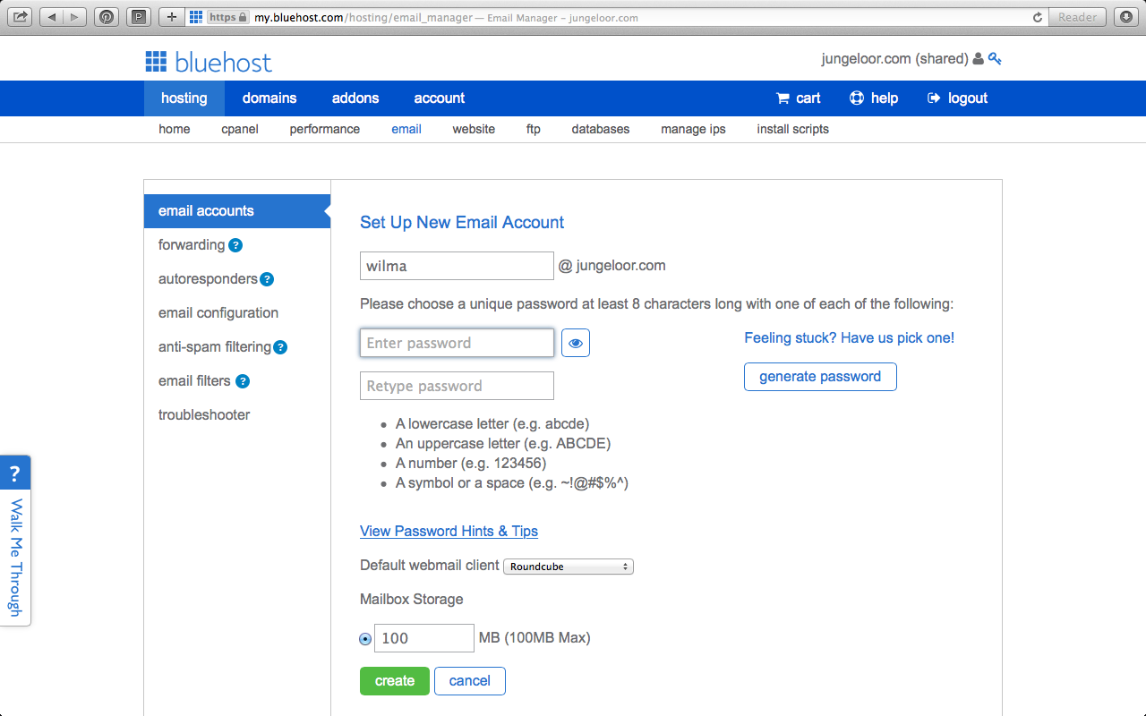 How to set up your email at Bluehost