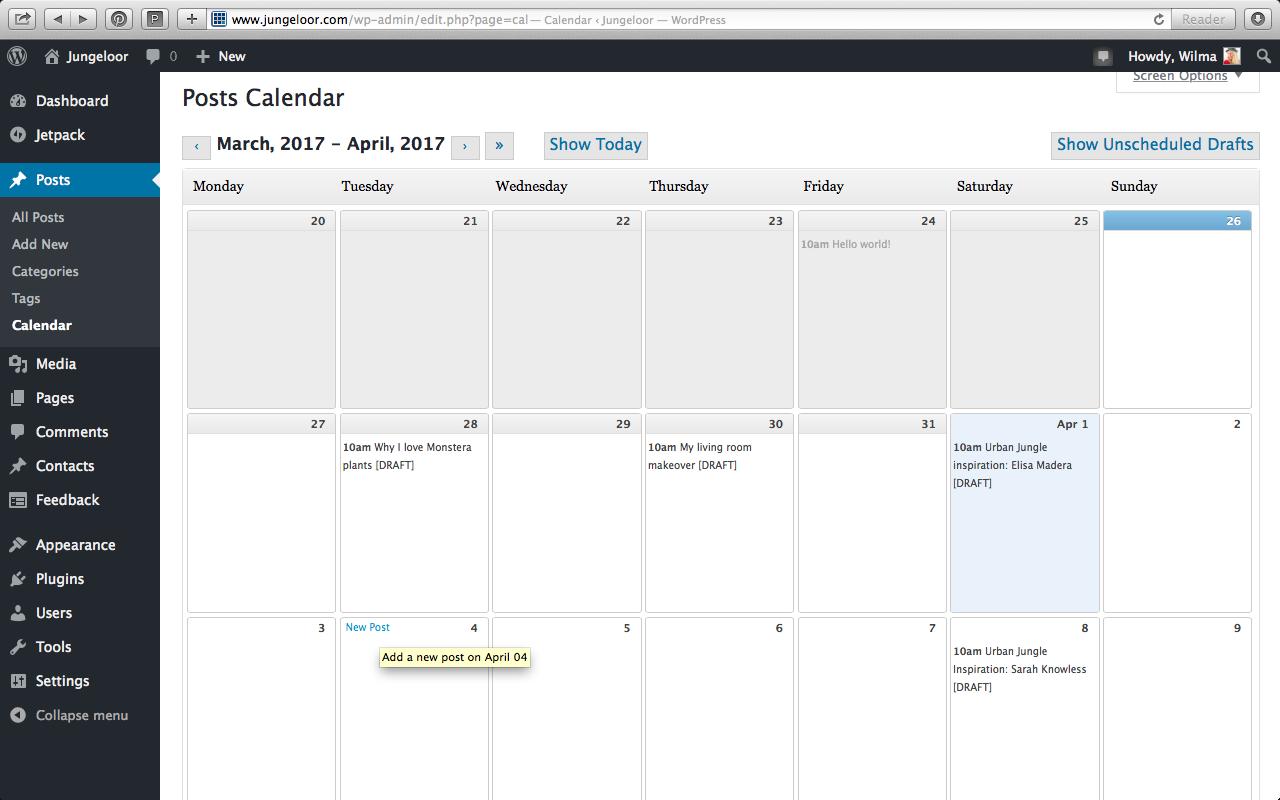 Planning blogposts with Editorial Calendar