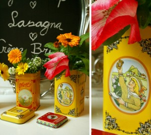 diy - recycled tin vases
