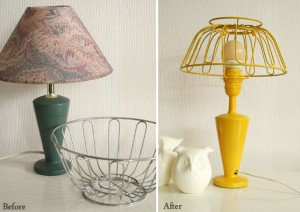 before and after fruit bowl lamp diy