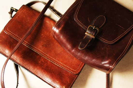 thrift store find leather bags