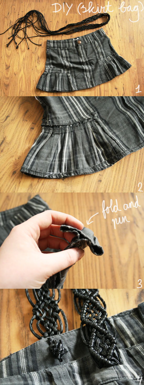diy - how to create a cute bag from a skirt