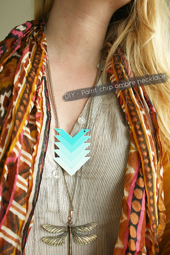 DIY - Create a cute chevron ombre necklace with paint chips! @ By Wilma