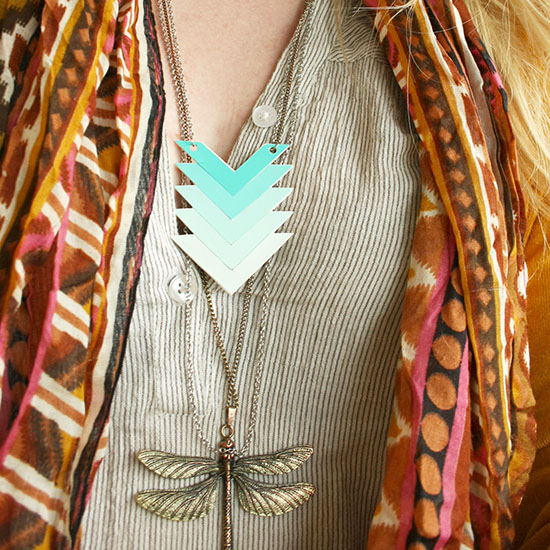 DIY - Paint chip chevron ombre necklace | By Wilma