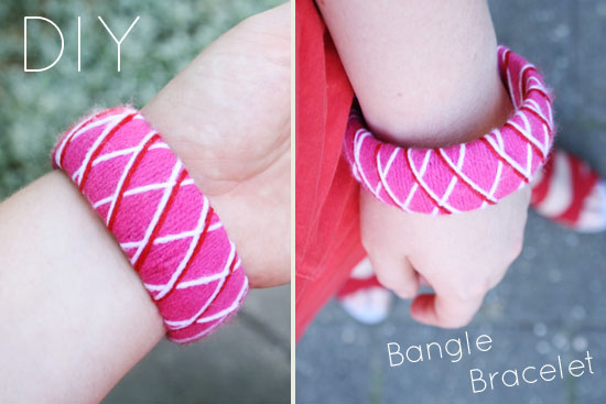 DIY - Restyled dollar store bangle bracelet. Wrapped in jarn!