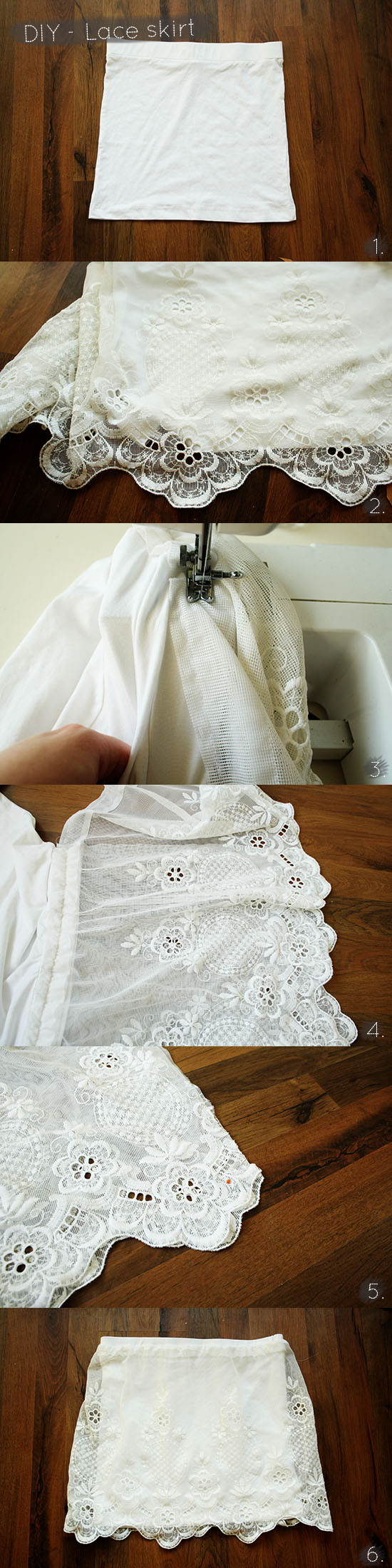 DIY - A tutorial on how to create a lace skirt from lace curtains from the thrift store @ By Wilma