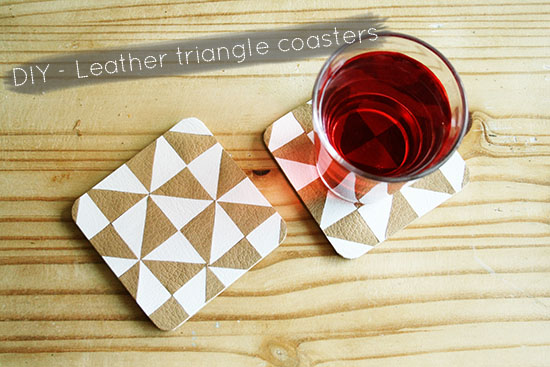 DIY - Faux leather triangle coasters @ By Wilma