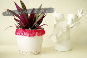 How to create a pretty restyled flower pot with an on trend neon detail! @ By Wilma