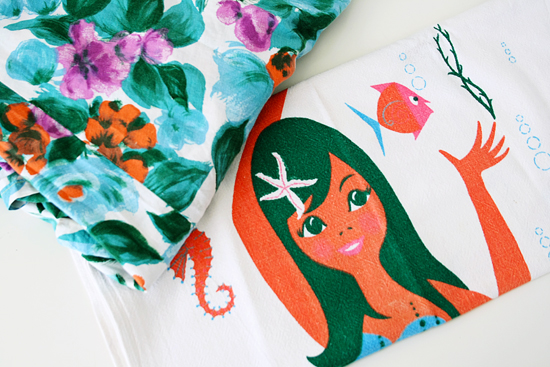thrif store finds fabric and teatowel